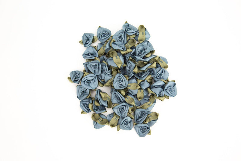 Blue Gray Satin Fabric Flowers Mini Flowers Tiny Flowers 25 Pieces  NTN00010