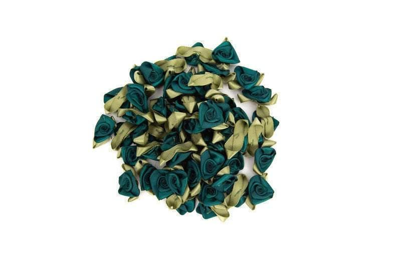 Green Satin Fabric Flowers Mini Flowers Tiny Flowers 25 Pieces  NTN00011