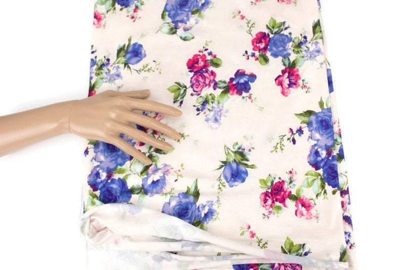 Blue and Dark Pink on Vanilla Floral Knit Jersey Fabric by the yard - Felinus Fabrics