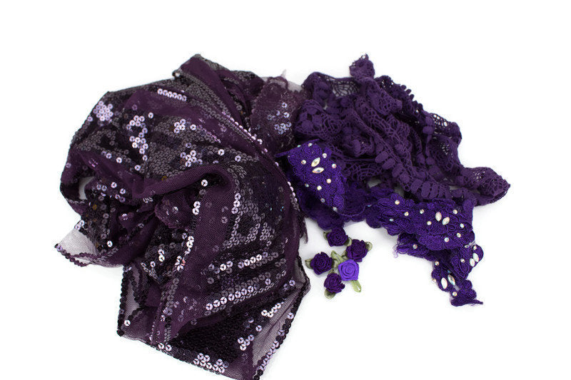 Purple Variety Fancy Trim Scrap Pack Scrap Bundle Pack SPK00065