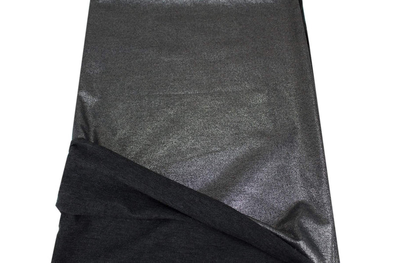 Metallic Dark Gray Baby French Terry Knit Fabric by the yard FTK00728R