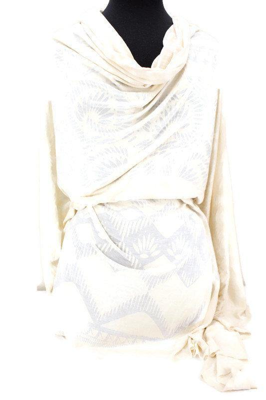Pale Nude Cream Burnout Out Knit Jersey Fabric by the yard PDK00603R