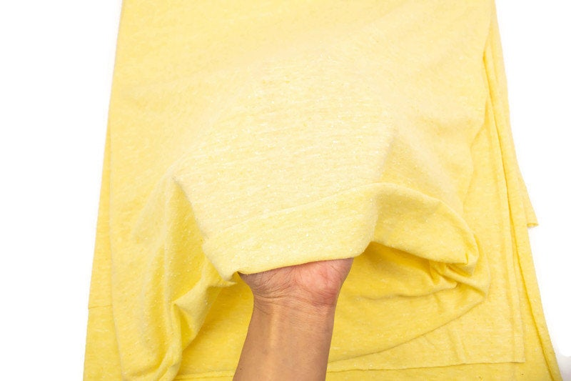 Heather Yellow Pilled Knit Jersey Fabric by the yard Extra Wide ATK00427R