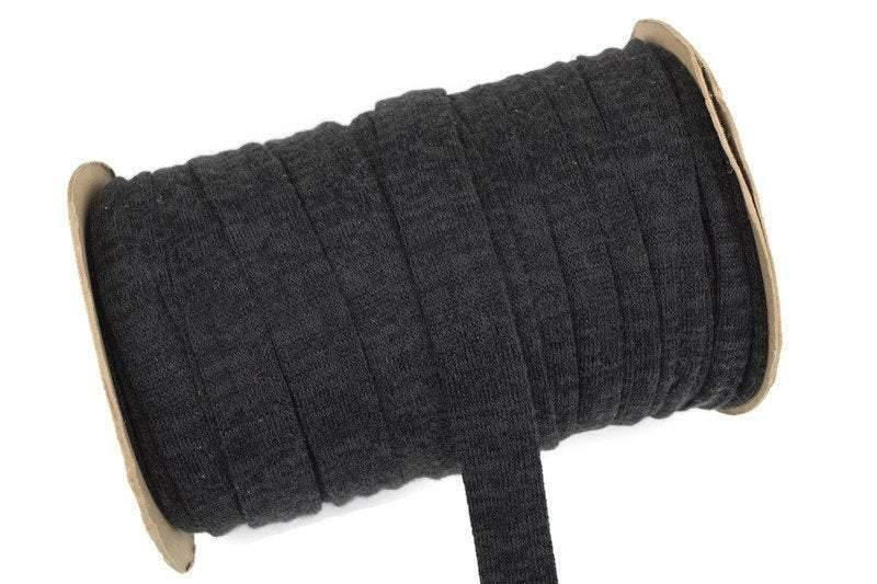 Heather Dark Green Black Sweater Knit Trim Straps Hollow Tube Tubular Trim 1 inch width 5 yards ATN00874