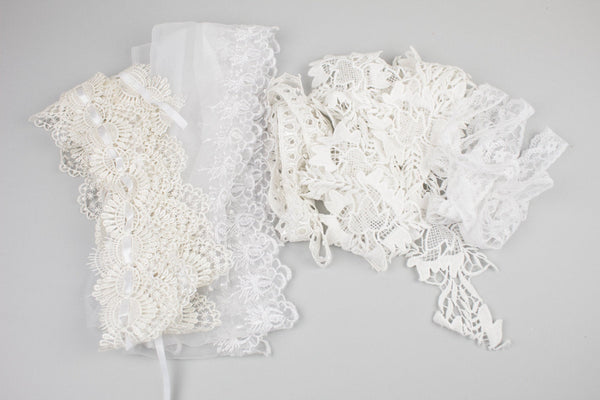 Lace Trim Scrap Pack Scrap Bundle Polyester and Nylon Lace 5 pieces of 1.5 - 2 yards each SPK00078