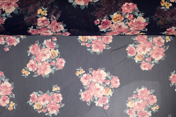 Pink and Navy Floral Stretch Mesh Fabric Extra Wide by the yard LMS00180R