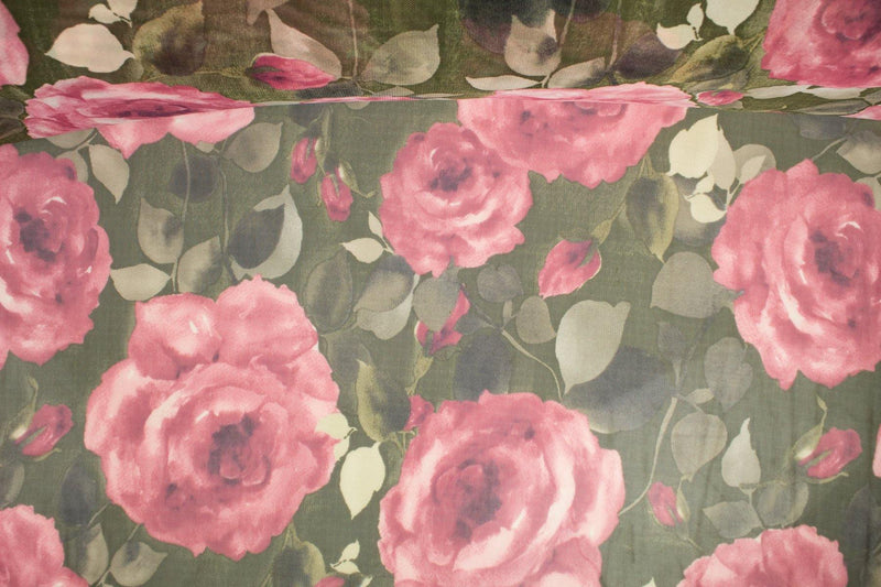 Blush Pink and Green Rose Floral Stretch Mesh Fabric Extra Wide by the yard