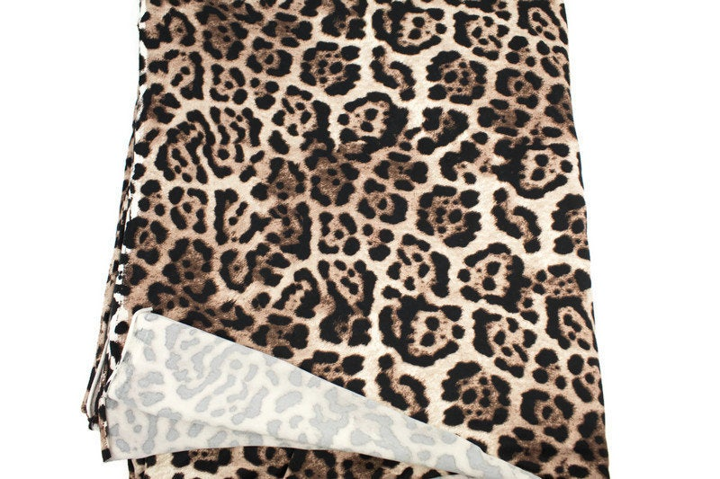 Leopard Print Brushed Poly Knit Fabric 3 yards PDK00658