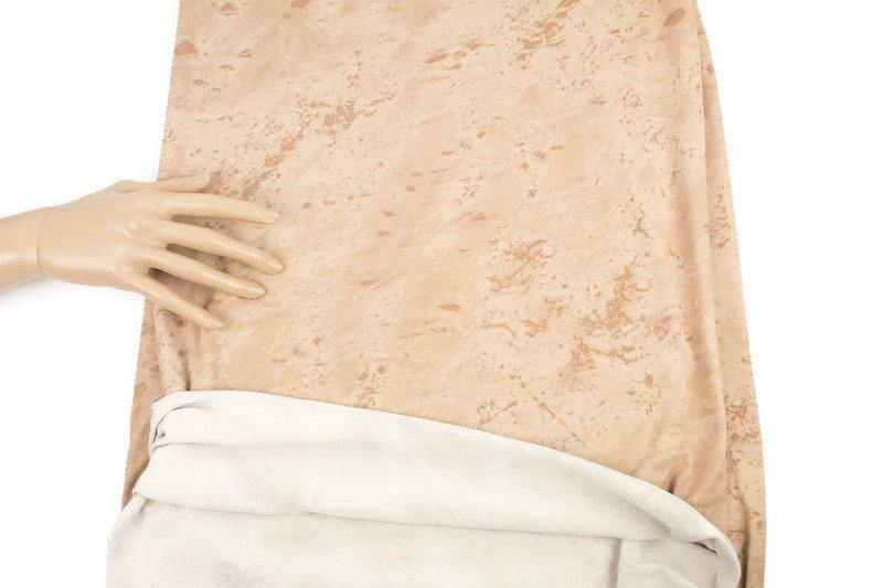 Beige Crackled Tie Dye Like Brushed Poly Knit Fabric 2 yards IMPERFECT - Felinus Fabrics