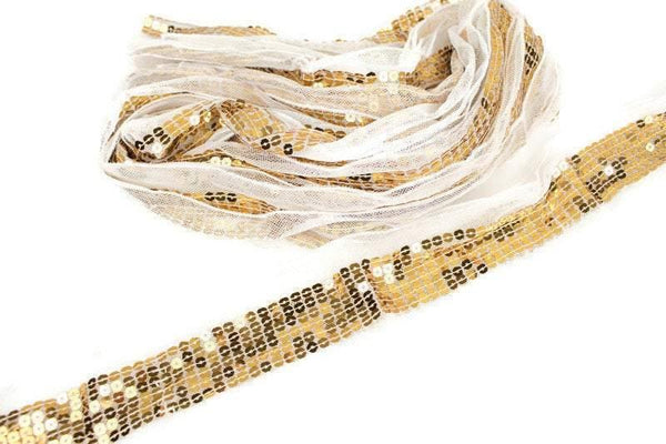 Gold Sequins on White Mesh Trim Scrap Pack Scrap Bundle Pack 8 pieces each piece 40 inches length SPK00082