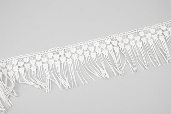 White Heart Lace Fringe Trim 3-5/8 inches width x 2.25 yards NLT00381