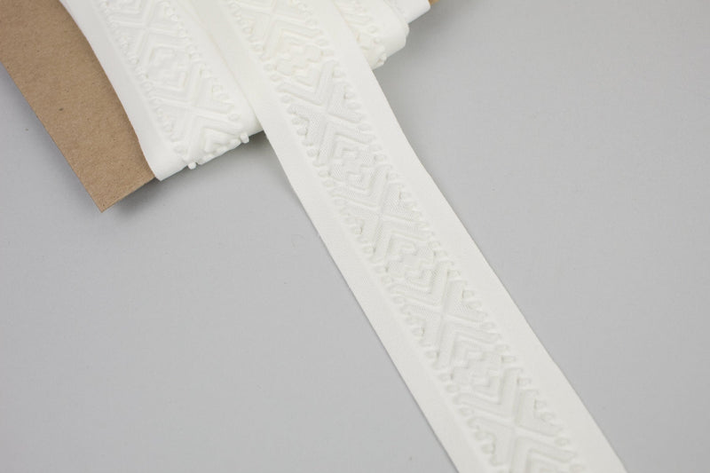 Off White Embossed Geometric Tribal Design Polyester Spandex Trim 1-7/8 inches width x 4.5 yards ATN00902