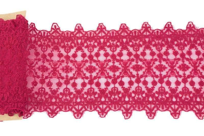Maroon Red Floral Lace Trim 6-1/8 inches width x 2.25 yards NLT00386