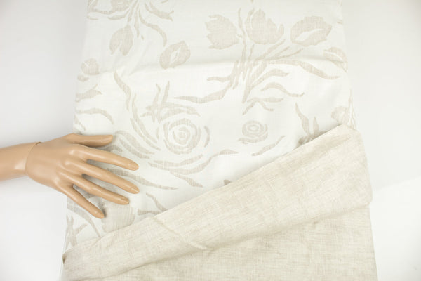 Off White and Light Beige Floral Novelty Linen Woven Fabric with Coating by the yard ATW00115R