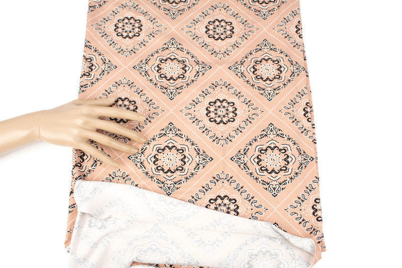 Nude Beige Bandana Print Brushed Poly Fabric by the yard PDK00665R
