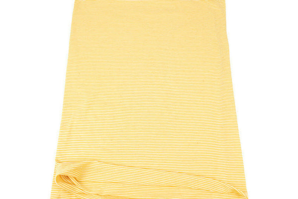 Yellow and White Narrow Stripe Speckled Knit Jersey Fabric by the yard STK00256R