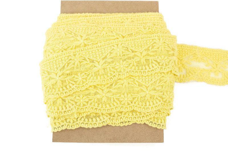 Yellow Embroidered Floral Lace Trim 2 inches width x 9.75 yards NLT00391