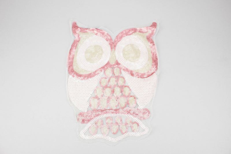 Pink Owl Sequined Applique on White Mesh APP00156