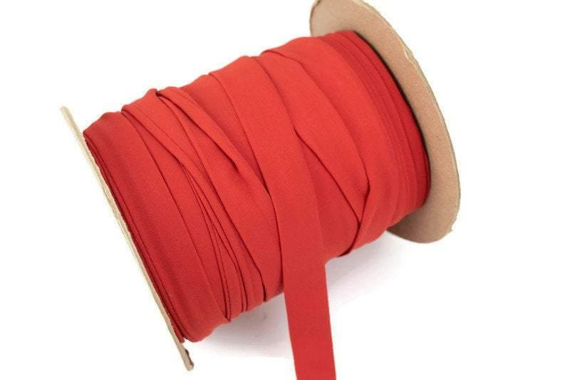 Dark Coral Crepe Chiffon Flat Trim Ribbon Straps Hollow Tube Tubular 5 yards  ATN00936