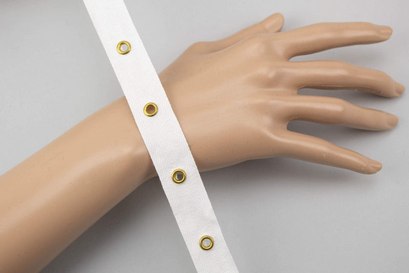 White Grommet Tape with Gold Eyelet Cotton Twill Tape on Trim 5 yards ATN00940