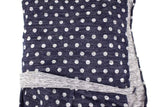 Dark Blue and Heather Gray Polka Dot Brushed Sweater Knit Fabric by the yard OSK01013R