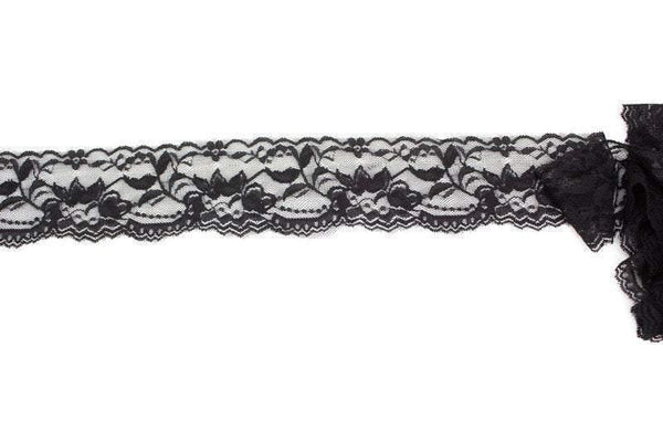 Black Floral Stretch Lace Trim 2-1/8 inches width x 5 yards SLT00197