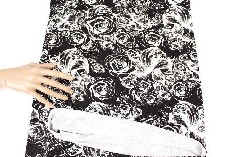 Black and White Skulls and Floral Print Knit Jersey Fabric by Lauren Moshi by the yard - Felinus Fabrics