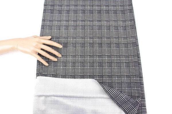 Black and White Houndstooth Plaid Ponte Knit Fabric by the yard - Felinus Fabrics