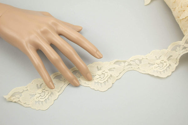 Pale Nude Floral Scalloped Lace Trim 2 inches width per 5 yards NLT00387