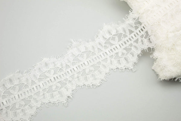 White Ladder Lace Scalloped Lace Trim 3.5 inches width x 2 yards 30 inches NLT00388