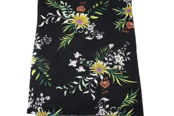 Black Floral Brushed Poly Knit Fabric 34 inches width PDK00682