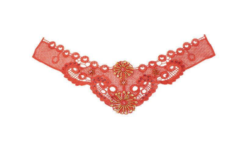 Dark Orange Floral Lace Applique with Sequins and Beads  APP00178