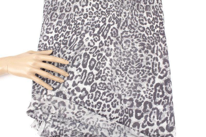 Gray Leopard Print Light Weight Sweater Knit Fabric by the Yard OSK01015R