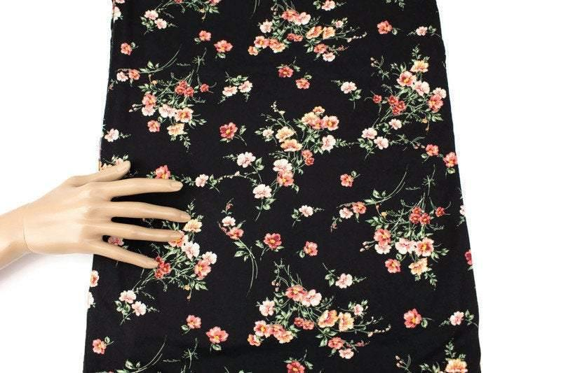 Black and Coral Floral Brushed Poly Knit Fabric 1 yard 15 inches PDK00684