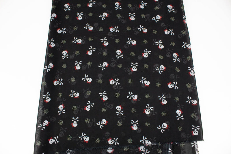 Black Skull and Cross Bone Chiffon Fabric by the yard ATW00119R