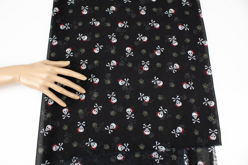 Black Skull and Cross Bone Chiffon Fabric by the yard - Felinus Fabrics
