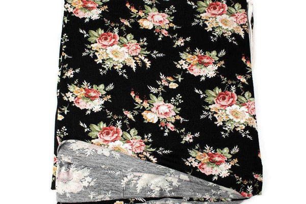 Black and Coral Multi Floral Knit Jersey Fabric 1.75 yard PDK00686A