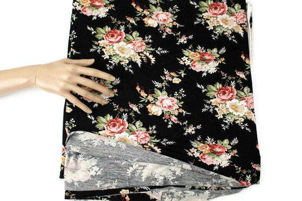 Black and Coral Multi Floral Knit Jersey Fabric by the yard PDK00686R