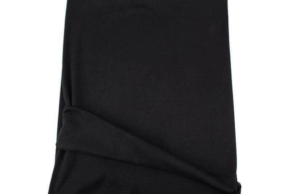 Black Cotton Spandex Fine Rib Knit Jersey Fabric by the yard ATK00475R