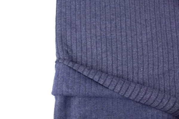 Blue Vertical Stripe French Terry Knit Fabric Brushed Fleece Back 1.25 yards FTK00792A