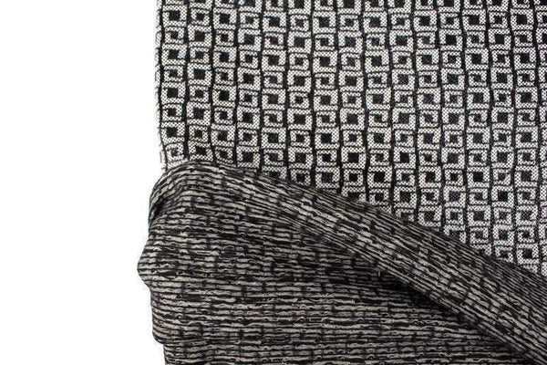 Black and Off White Glossy Dots and Geometric Squares Jacquard Knit Fabric 2 yards - Felinus Fabrics