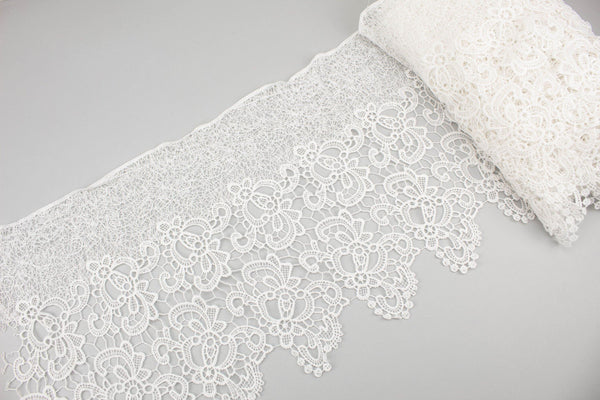 White Floral Polyester Lace Trim 11.5 inches width x 10 pieces total 1/2 - 1 yard each SPK00104