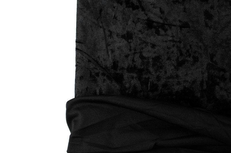 Black Crushed Stretch Velvet Knit Fabric by the yard ATK00465R