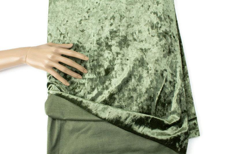 Olive Green Crushed Stretch Velvet Knit Fabric by the yard ATK00467R
