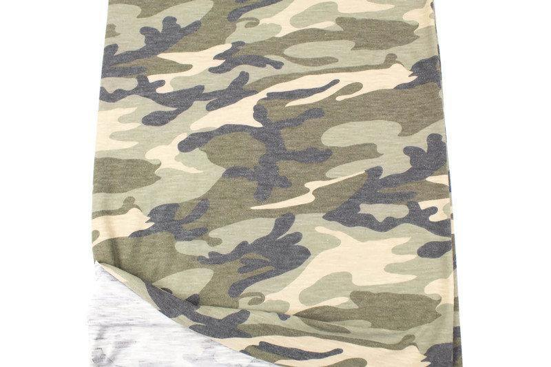 Heather Olive Green and Brown Camouflage Print Slub Knit Jersey Fabric by the yard PDK00693R