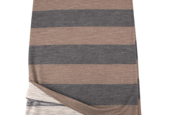 Heather Brown Wide Stripe Baby French Terry Knit Fabric by the yard FTK00795A