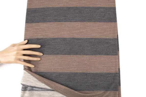 Heather Brown Wide Stripe Baby French Terry Knit Fabric by the yard FTK00795R