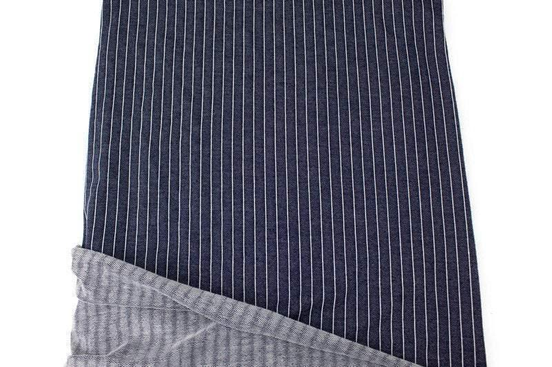 Denim Blue and White Vertical Stripe Baby French Terry Knit Fabric by the yard FTK00783R