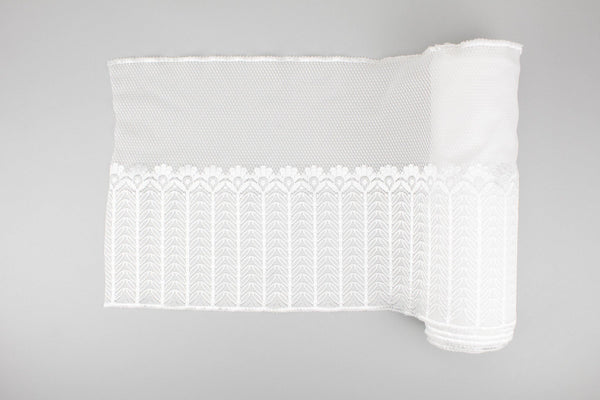 White Wide Stretch Lingerie Lace Trim for Girdles 12.25 inches width by the yard SLT00223