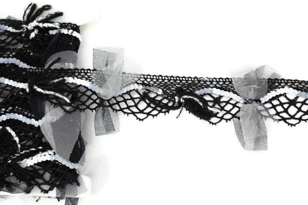 Black and White Fancy Embellished Lace Trim by Bacus Lace Made in France Designer Lace 1-1/8 inches width per yard NLT00398